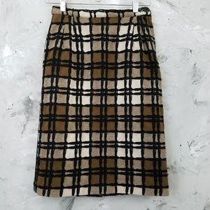 COUNTRY SET 60's Vintage Brown Plaid Wool Skirt